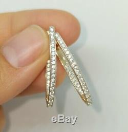Russian Earrings gold NEW Rose gold 14K 585 Russia diamond 2.95g long USSR style