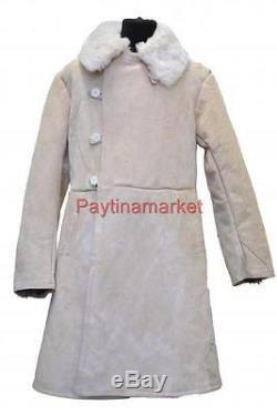 Russian Officer Winter Sheepskin Coat Army USSR TULUP Bekesha Shearling Jacket