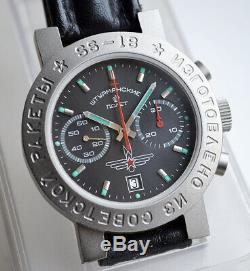 Russian Poljot Sturmanskie Ss-18 Chronograph Titanium Watch Cccp Ussr Soviet