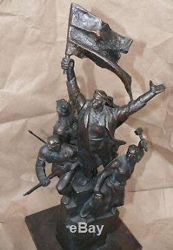Russian REVOLUTIONARIES Soviet red propaganda bronze sculpture statue bust RARE