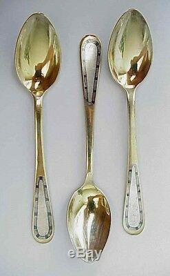 Russian Royal Soviet Tsar 875 Solid Silver Niello Enamel Spoon Kovsh Ladle Cap