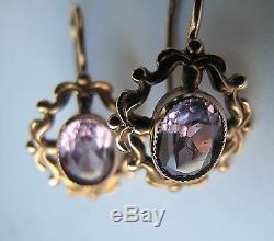 Russian Soviet Earrings Rose Pink Gold Alexandrite stone hook loop 583