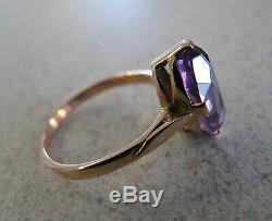 Russian Soviet Ring Rose Pink Gold Alexandrite Stone Corundum sz 5.5 stamp 583