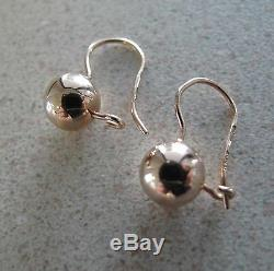 Russian Soviet Rose Gold Earrings round balls stamp 583 14K
