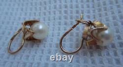 Russian Soviet Rose Gold Pearl earrings vintage 583 stamp