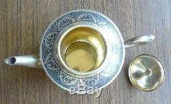 Russian Soviet Silver 875 Gilt Nielloed Teapot Kubachi Art Factory 1970s