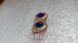 Russian Soviet USSR Corundum Earrings Solid Rose 14k 583/585 Gold