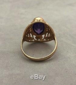 Russian Soviet Ussr Vintage Estate 14k 583 Rose Gold Amethyst Simulant Ring