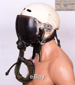 Russian Soviet pilot flight helmet ZSH-3+oxygen mask+leather helmet 4 pcs in set