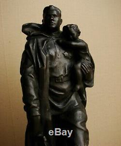 Russian Soviet statue Soldier liberator Berlin Vuchetich metal large rare WW2