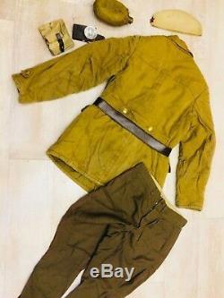 Russian Soviet uniform jacket (L) + hat + belt +bag + flashlight style WW-2