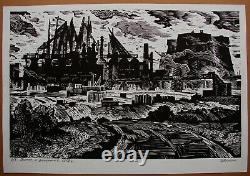 Russian Ukrainian Soviet Linocut drawings Industrial landscape blast furnace