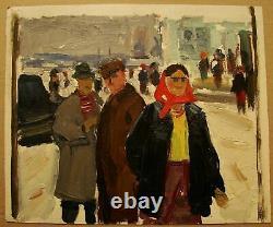 Russian Ukrainian Soviet Oil Painting Genre Figures soc realism village hall