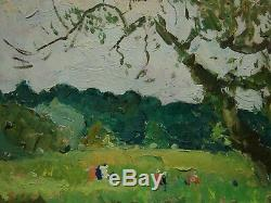 Russian Ukrainian Soviet Oil Painting Impressionism landscape glade walk summer