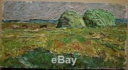 Russian Ukrainian Soviet Oil Painting Impressionism landscape green haymow bent