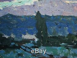 Russian Ukrainian Soviet Oil Painting Impressionism landscape sunrise morning