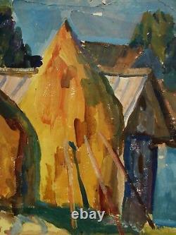 Russian Ukrainian Soviet Oil Painting Landscape Impressionism haycock village