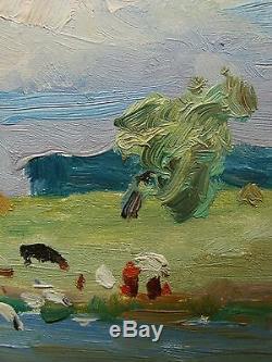Russian Ukrainian Soviet Oil Painting Landscape herd cows river impressionism