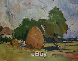 Russian Ukrainian Soviet Oil Painting Landscape impressionism clouds sun wind
