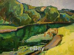 Russian Ukrainian Soviet Oil Painting Landscape impressionism cow river