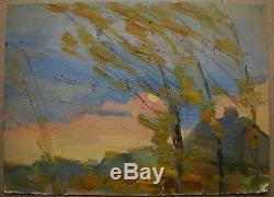 Russian Ukrainian Soviet Oil Painting Landscape impressionism spring wind