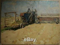 Russian Ukrainian Soviet Oil Painting Landscape realism harvester cornfield 50s