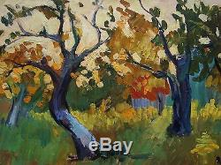 Russian Ukrainian Soviet Oil Painting Landscape tree impressionism fauvism