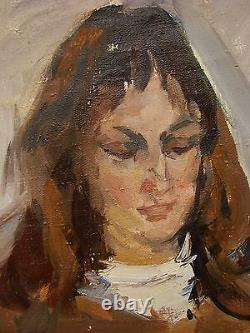 Russian Ukrainian Soviet Oil Painting Portrait realism impressionism girl