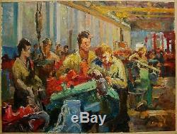 Russian Ukrainian Soviet Oil Painting Portrait working man realism machinist