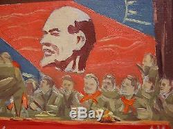 Russian Ukrainian Soviet Oil Painting Socialist realism Lenin meeting pioneer