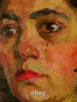 Russian Ukrainian Soviet Oil Painting female portrait realism girl skier