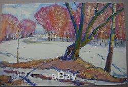 Russian Ukrainian Soviet Oil Painting impressionism Landscape winter trees