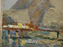 Russian Ukrainian Soviet Oil Painting impressionism Seascape cliff mooring