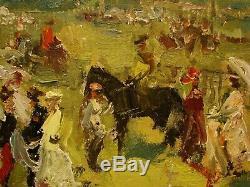 Russian Ukrainian Soviet Oil Painting impressionism driving on horses walk