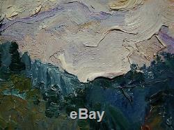 Russian Ukrainian Soviet Oil Painting impressionism landscape cloud mountains