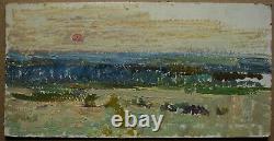 Russian Ukrainian Soviet Oil Painting impressionism landscape sunrise sky