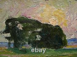 Russian Ukrainian Soviet Oil Painting impressionism landscape sunrise tree