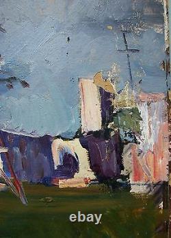 Russian Ukrainian Soviet Oil Painting impressionism rain power line town realism