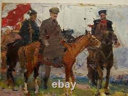 Russian Ukrainian Soviet Oil Painting impressionism rider horse Red Army man