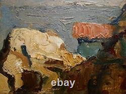 Russian Ukrainian Soviet Oil Painting impressionism seascape cliff brink