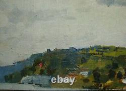 Russian Ukrainian Soviet Oil Painting impressionism seascape river panorama