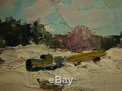 Russian Ukrainian Soviet Oil Painting impressionism winter snow forest 1950s
