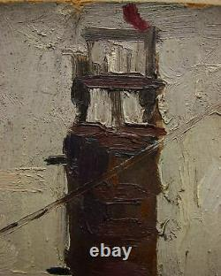 Russian Ukrainian Soviet Oil Painting industrial soc realism elevator plant 1950