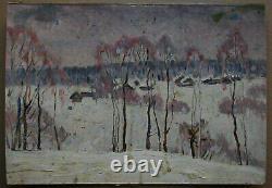 Russian Ukrainian Soviet Oil Painting landscape impressionism village winter