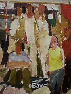 Russian Ukrainian Soviet Oil Painting people realism propaganda genre sketch