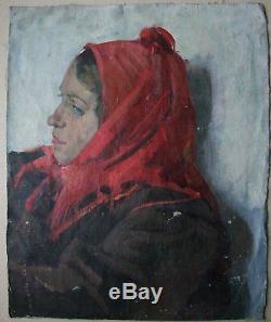 Russian Ukrainian Soviet Oil Painting portrait realism girl old man Stalin era