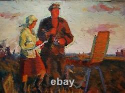 Russian Ukrainian Soviet Oil Painting realism artist etudes village Kolkhoz