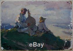 Russian Ukrainian Soviet Oil Painting realism bandura player figure song river