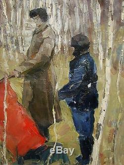 Russian Ukrainian Soviet Oil Painting realism birch flag children heroes