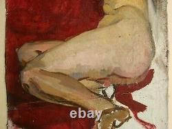Russian Ukrainian Soviet Oil Painting realism female nude figure woman girl